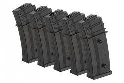 Zestaw 5 magazynków Hi-Cap 450 kulek do replik typu G36 - Czarny