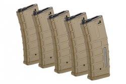 Zestaw 5 magazynków Hi-Cap 300 kulek do replik typu M4/M16 - Tan