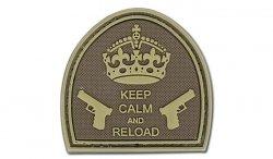 4TAC - Naszywka 3D - Keep Calm And Reload - Brązowy