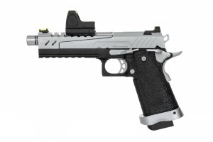 Replika pistoletu Hi-capa 5.1 Split Slide - czarna / chrom (z celownikiem BDS)