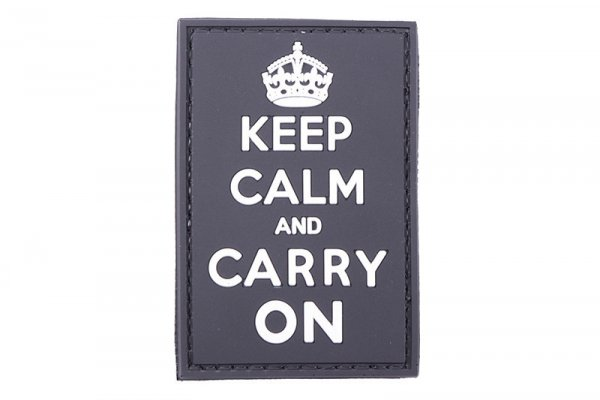 Naszywka 3D - Keep Calm And Carry On - czarna