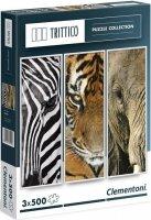 Puzzle 3x500 Clementoni 39307 Zwierzęta Afrykańskie