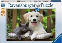 Puzzle 500 Ravensburger 142347 Pies i Kot - Przyjazne Przeciwieństwa
