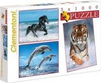 Puzzle 3x1000 Clementoni 08004 Koń - Delfiny - Tygrys