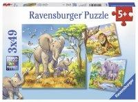 Puzzle 3x49 Ravensburger 080038 Zwierzęta Afrykańskie 3w1