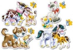 Puzzle 4,5,6,7 Castorland B-04218-2 Zwierzęta z Młodymi