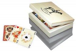 Karty Lux w Pudełku Drewnianym z Logo Piatnika 2805 Piatnik 2 Talie