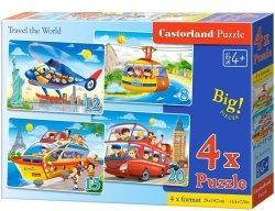 Puzzle 8,12,15,20 Castorland B-041015 Pojazdy - Podróżować przez Świat
