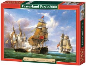 """Puzzle 3000 Castorland C-300037 Copy of """"Combat between the French Frigate »La Canonniere« and the English Vessel »The Tremendou"""