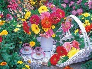Puzzle 1000 Ravensburger 192731 Herbatka Wśród Kwiatów