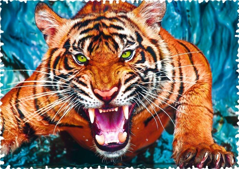 Puzzle 600 Trefl 11100 Crazy Shapes - Oko w Oko z Tygrysem