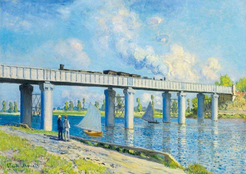 Puzzle 1000 Bluebird 60038 Claude Monet - Most Kolejowy w Argenteuil - 1873