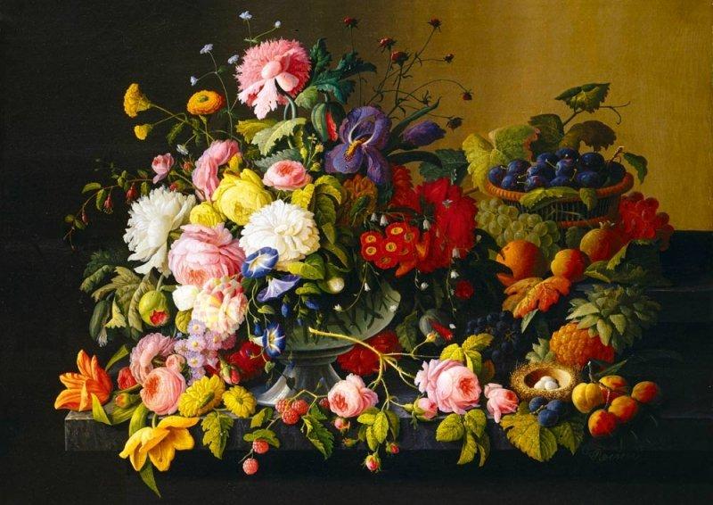 Puzzle 1000 Bluebird 60030 Severin Roesen - Martwa Natura - Kwiaty i Owoce - 1855