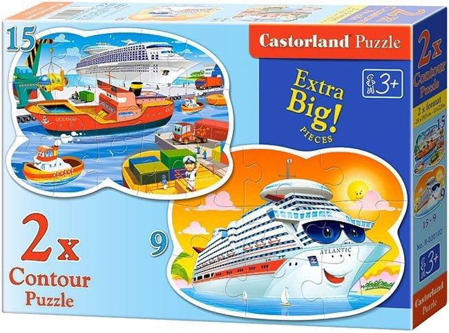 Puzzle 2w1 Castorland 15, 9 Okręty - Statki 020102