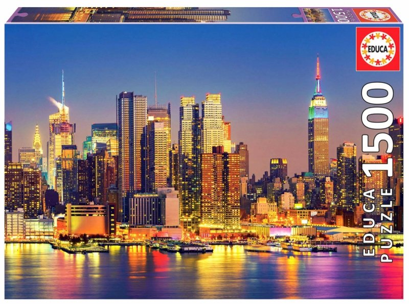 Puzzle 1500 Educa 18466 New York - Manhattan Nocą