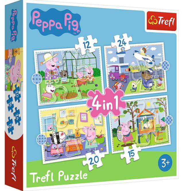 Puzzle 4w1 Trefl T-34359 Peppa - Wspomnienia z Wakacji