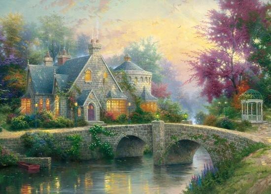 Puzzle 3000 Schmidt 57463 Thomas Kinkade - Wieczorną Porą Wiosenny Ogród