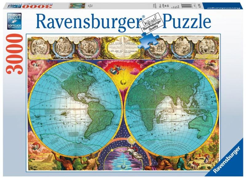 Puzzle 3000 Ravensburger 170746 Antyczna Mapa Świata