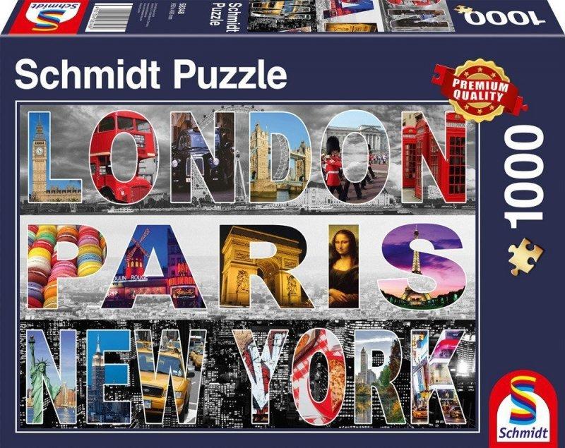 Puzzle 1000 Schmidt 58348 Kolaż - Londyn, Paryż, Nowy Jork