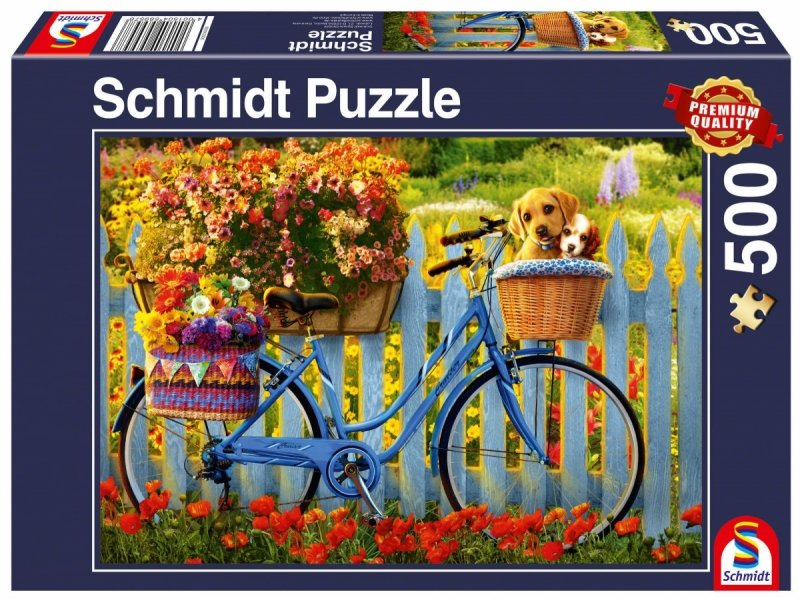 Puzzle 500 Schmidt 58957 Psy na Rowerze