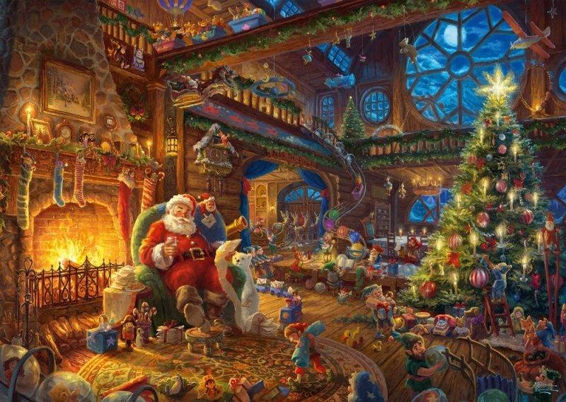 Puzzle 1000 Schmidt 59494 Thomas Kinkade - Święty Mikołaj i Elfy