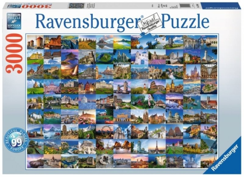 Puzzle 3000 Ravensburger 170807 Widoki Europy - Kolaż
