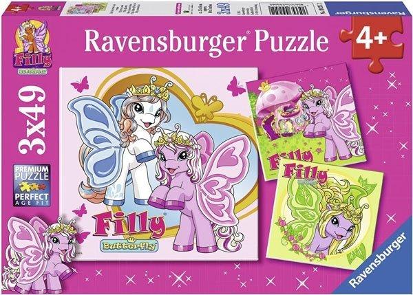 Puzzle 3x49 Ravensburger 092512 Filly - Motylek i Przyjaciele 3w1