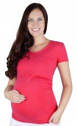 MijaCulture - bluzka 2 w 1 ciążowa i do karmienia krótki rękaw 1102 czerwony