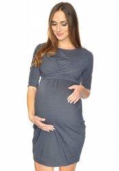 Zjawiskowa sukienka ciążowa i do karmienia Una 7142 szara