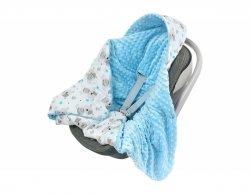 Kocyk z kapturkiem do fotelika Minky F023 miś/niebieski