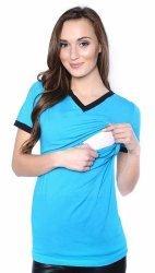 """Komfortowy  T-shirt """"Eva"""" 2 w 1 dla karmiących oraz kobiet w ciąży 9055 turkus"""