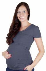 MijaCulture - bluzka 2 w 1 ciążowa i do karmienia krótki rękaw 1102 szary