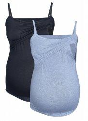 MijaCulture - zestaw dwóch topów ciążowych i do karmienia M46/4089 czarny/szary