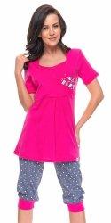 """Wyjątkowa piżama 2 w 1 ciążowa i do karmienia """"Baby"""" 5058 różowy"""