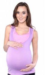 MijaCulture - dwukolorowy top ciążowy i do karmienia 4014/M32 lila/jasny róż