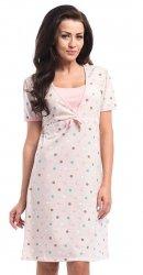 Elegancka koszula 2 w 1 ciążowa i do karmienia 5062/4044 beż/kropki