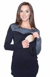 """Wygodna dwukolorowa bluzka 2 w 1  ciążowa oraz do karmienia """"Jane""""  długi rękaw 9073 czarny/grafit"""