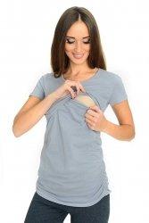 MijaCulture - bluzka 2 w 1 ciążowa i do karmienia krótki rękaw M03/3074 szary