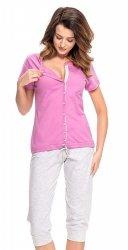 Wygodna piżama 2 w 1 ciążowa i do karmienia 5063  fuksja