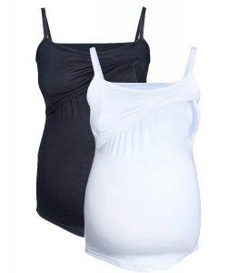 MijaCulture - zestaw dwóch topów ciążowych i do karmienia M46/4089 czarny/biały