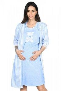 MijaCulture - 2 w 1 komplet koszula nocna i do karmienia + szlafrok 2075 niebieski