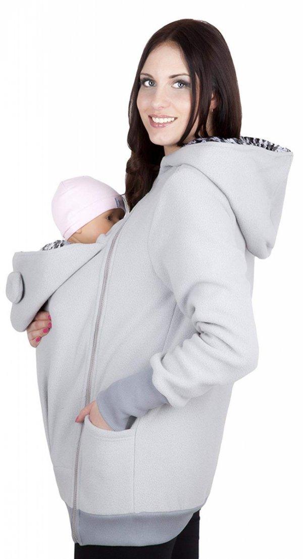 bluza polarowa do noszenia dziecka 4019A/M21 szary 2