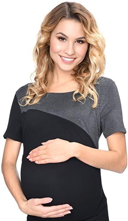 Bluzka ciążowa i do karmienia Jane 9093 kr. rękaw czarna 3