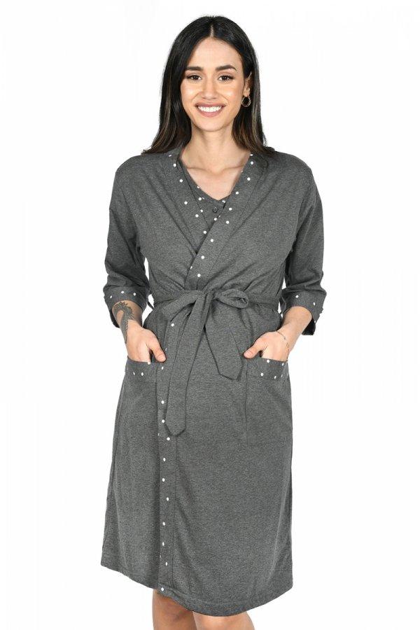 MijaCulture - 2 w 1 komplet koszula nocna i do karmienia + szlafrok 2076 grafit