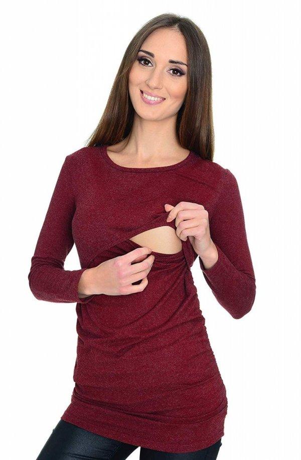 MijaCulture - bluzka 2 w 1 ciążowa i do karmienia długi rękaw M01/3070 burgund 2