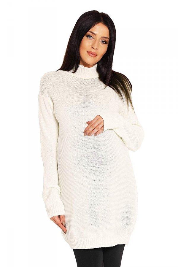 Długi sweter ciążowy Majka 2009 kremowy 1