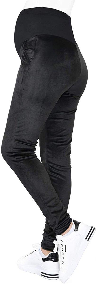 Wygodne spodnie ciązowe dresowe welurowe  9096 czarne1
