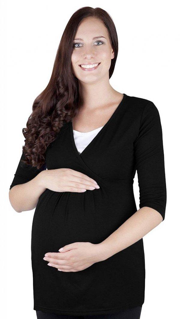 """MijaCulture - bluzka 2 w1 ciążowa i do karmienia długi rękaw """"Dora II"""" 7103 czarny 2"""