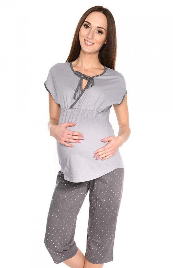 MijaCulture - piżama 3 w 1 ciążowa i do karmienia 4117/M77 melanż/szary 2