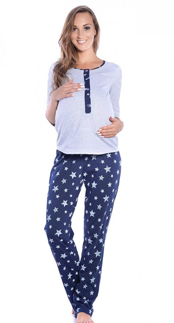 3 w 1 piżama ciążowa i do karmienia 4054/M52 szary/granat 3
